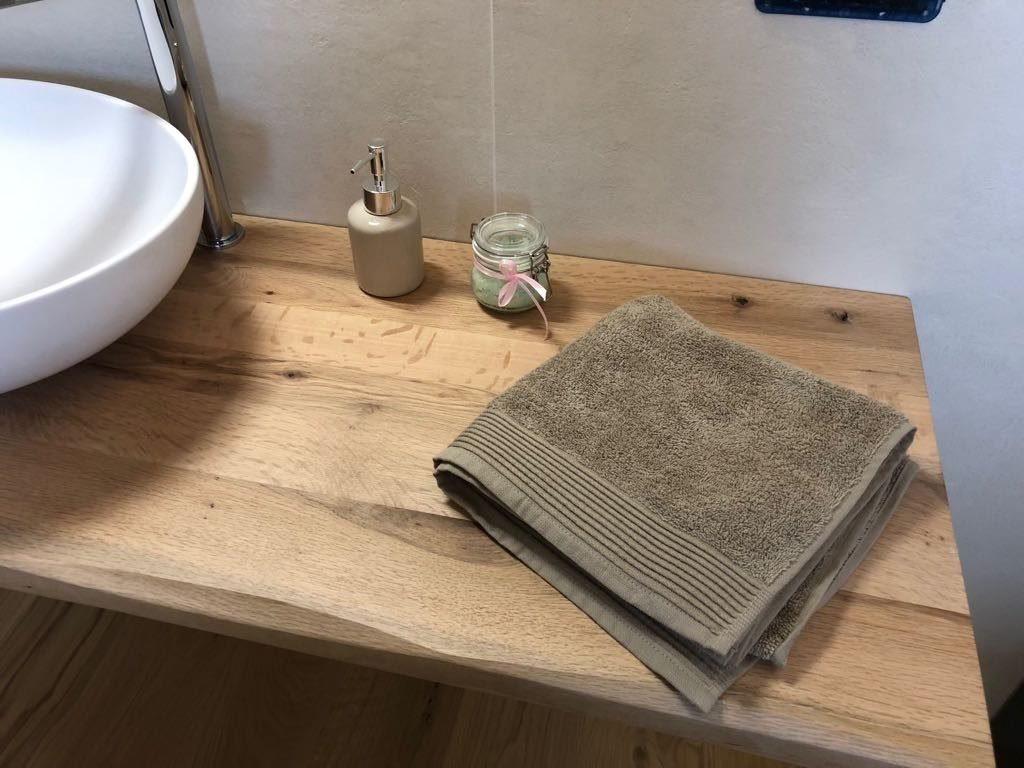 Bathroom wood shelves